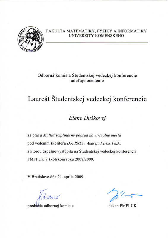 Curriculum Vitae Duskova Elena